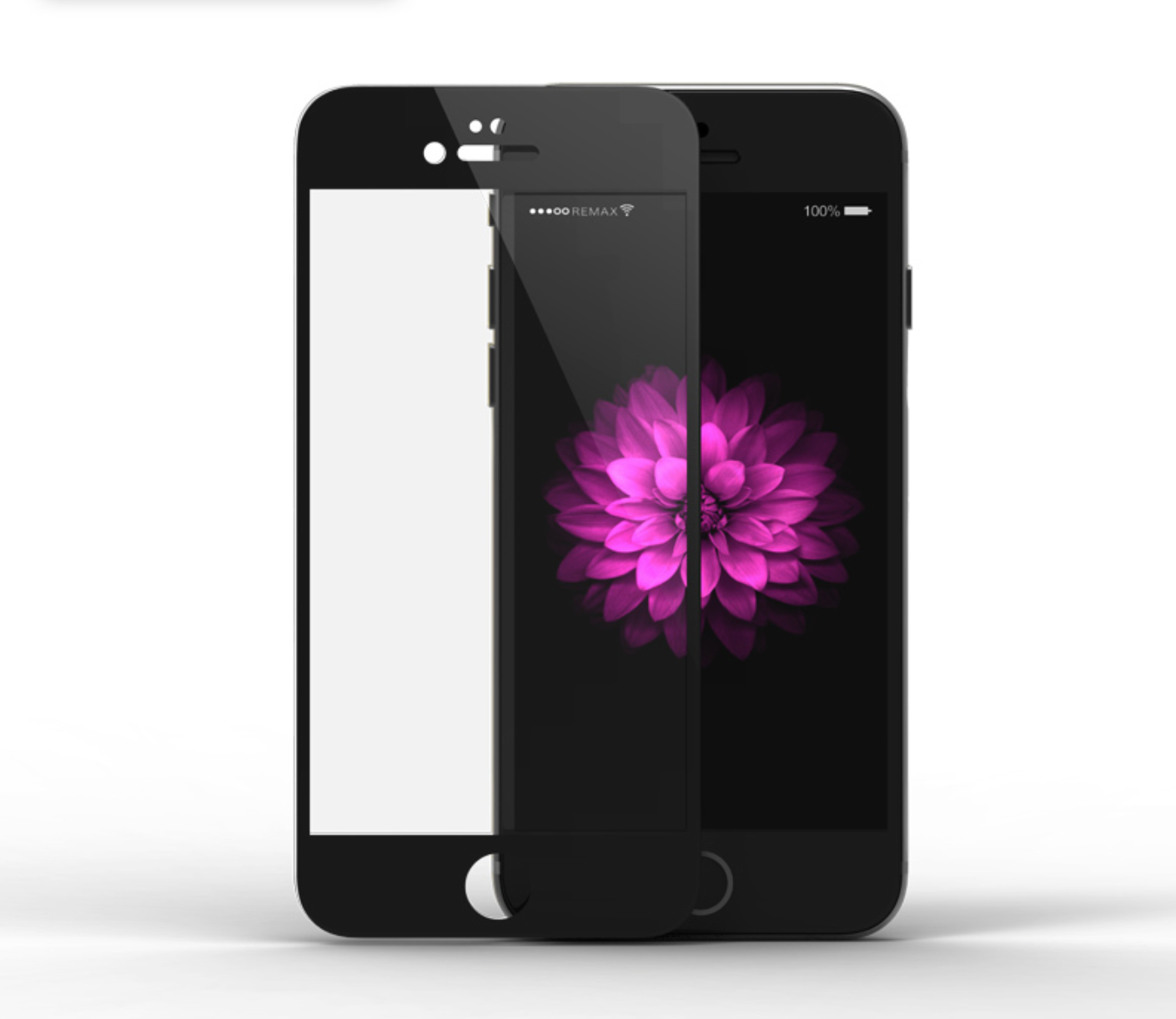 Tvrzené zaoblené barevné sklo Clearo na celý displej pro iPhone 6/6S Barva: Černý