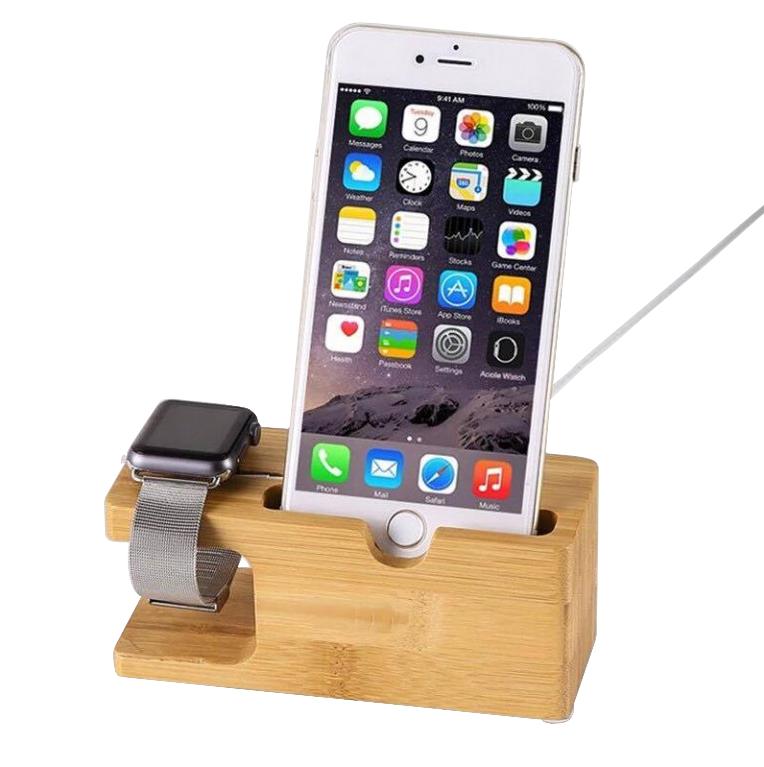 Bambusový stojánek/dokovací stanice Clearo pro iPhone a Apple Watch