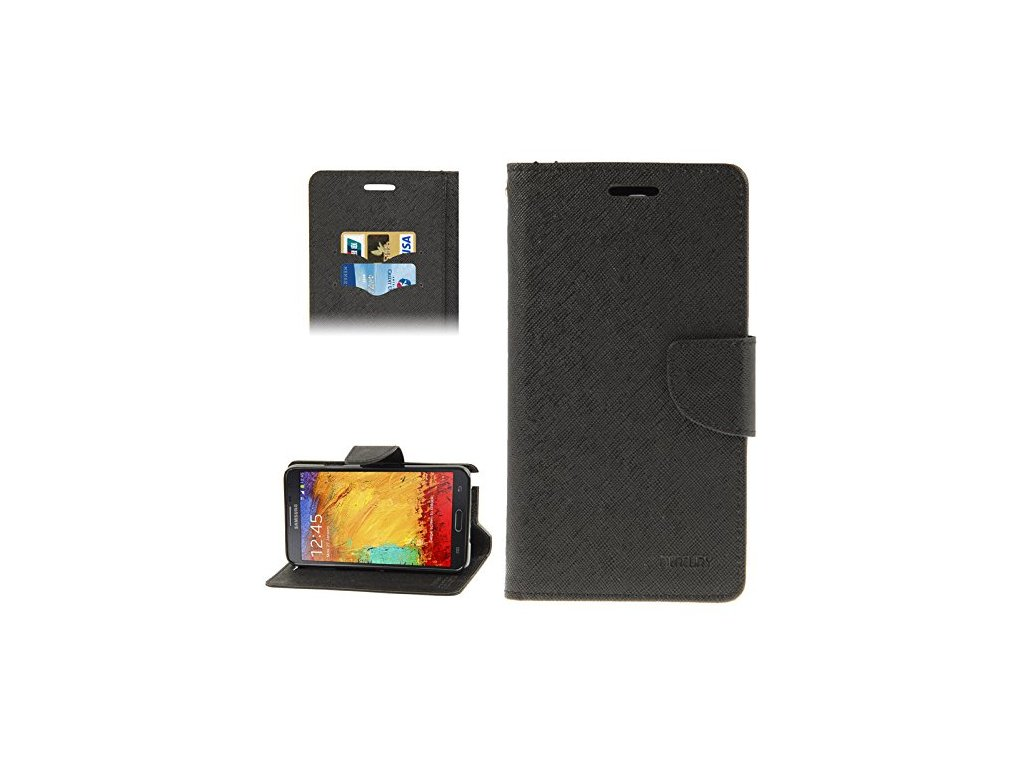 Mercury Goospery Fancy Diary Wallet Case Cover for Samsung Galaxy Note 3 Neo BLACK 0 0