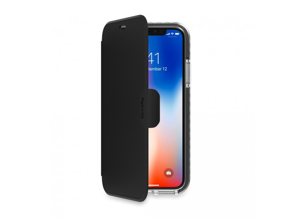 10842 4 cerne flipove pouzdro celly hexawally pro iphone x xs