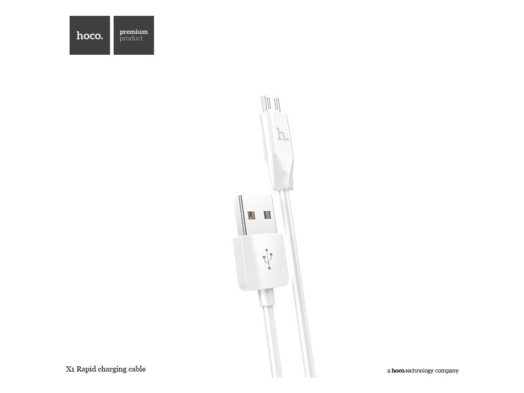 KABEL MICRO USB HOCO, X1 WHITE 200CM krytnamobil.cz