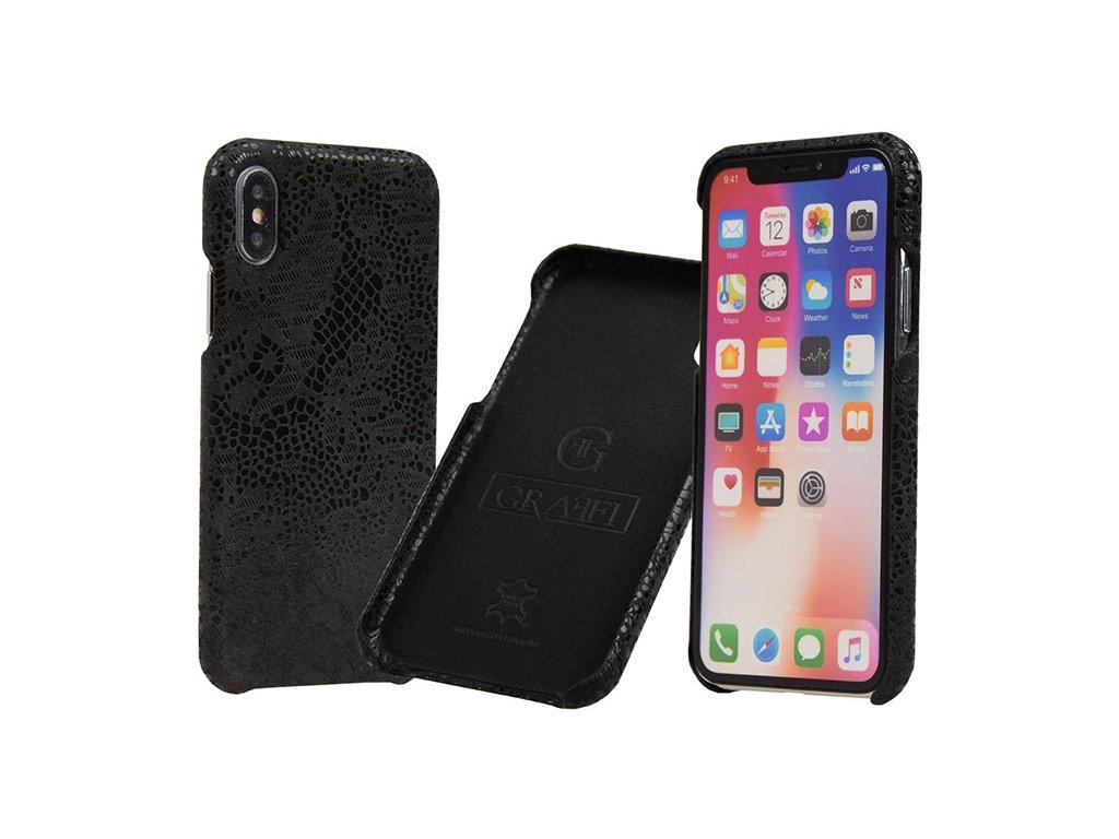 Kožený kryt pro iPhone X/XS - Carastyle Shell Black Lace z pravé kůže