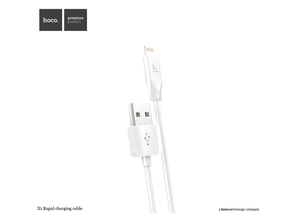 36143 bily datovy kabel hoco x1 lightning pro iphone a ipad 200cm