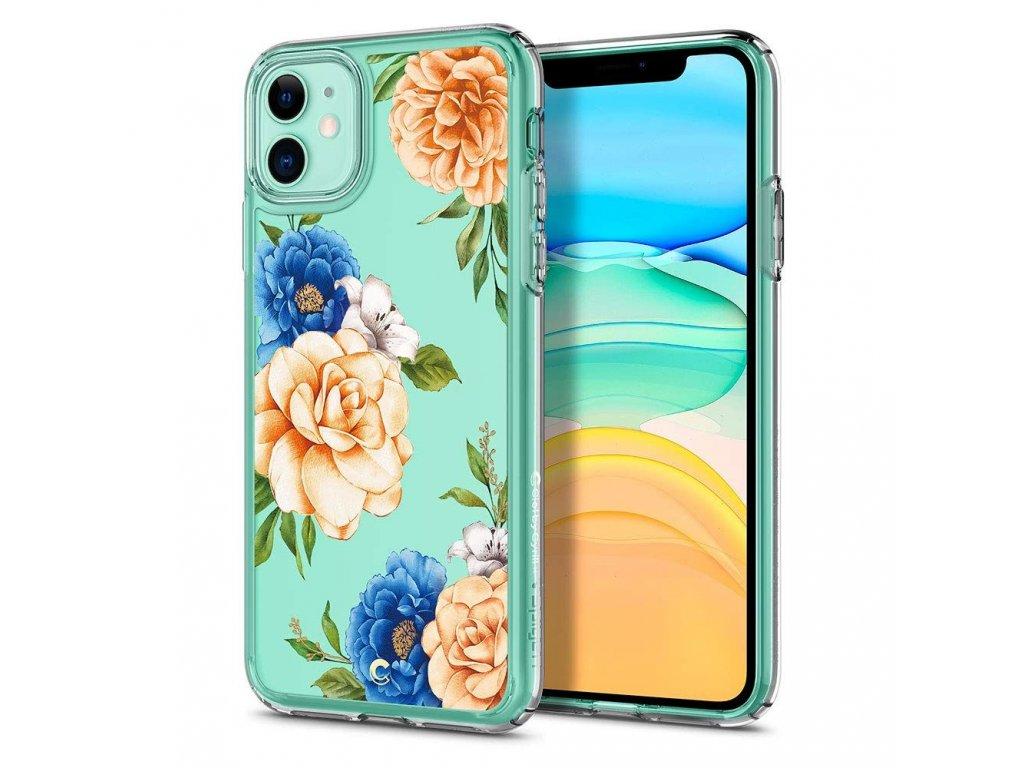 Průhledný obal Spigen Ciel Blue Floral pro iPhone 11