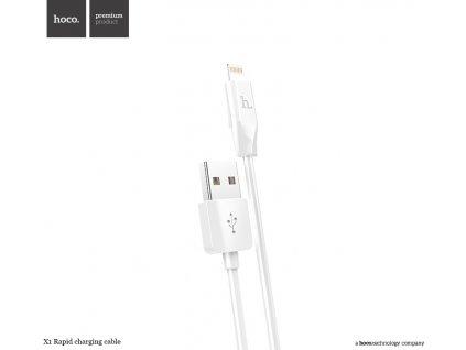 22482 bily datovy kabel hoco x1 lightning pro iphone a ipad 300cm