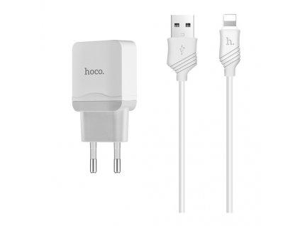 Nabíjecí AC adaptér pro iPhone a iPad - HOCO, C22A 2.4A White + Lightning kabel