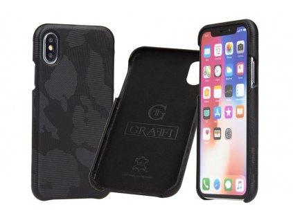 Luxusní pouzdro pro iPhone X/ XS - Carastyle Shell Black Camouflage Zed z pravé kůže