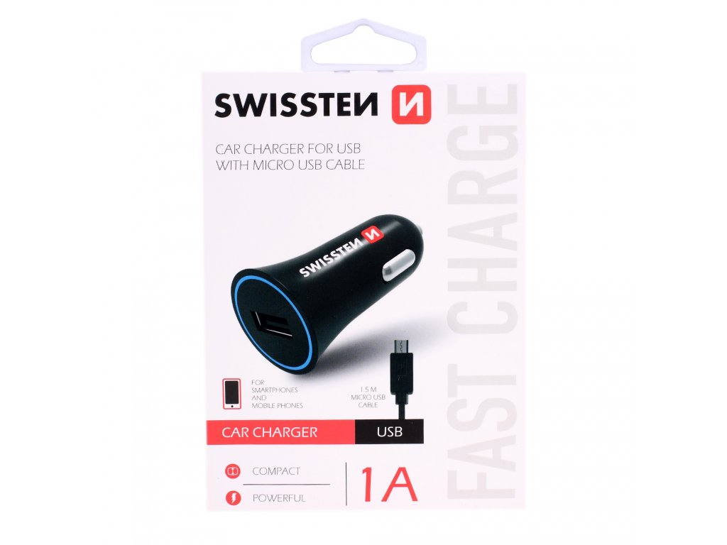 AUTONABÍJEČKA SWISSTEN CL USB 1A POWER + KABEL MICRO USB (20110800) 20110800