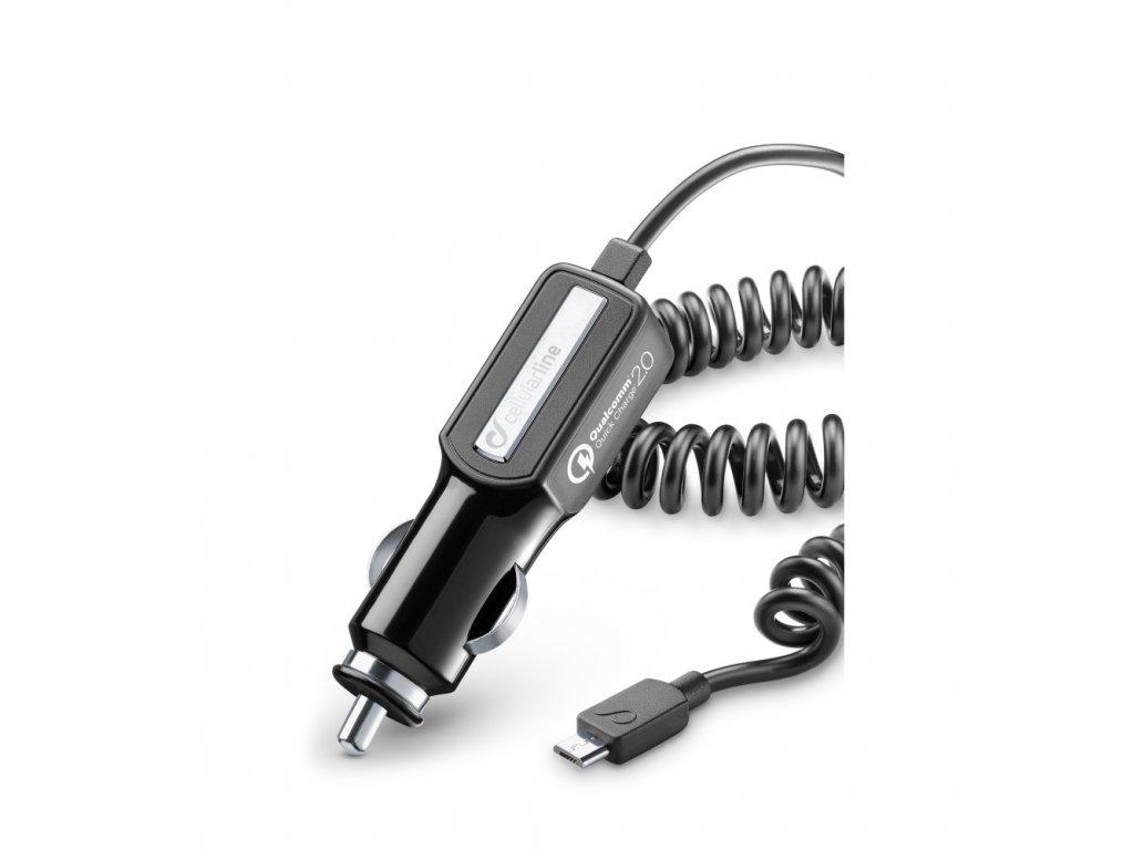 Autonabíječka CellularLine Qualcom Quick Charge 2.0 s konektorem microUSB, černá