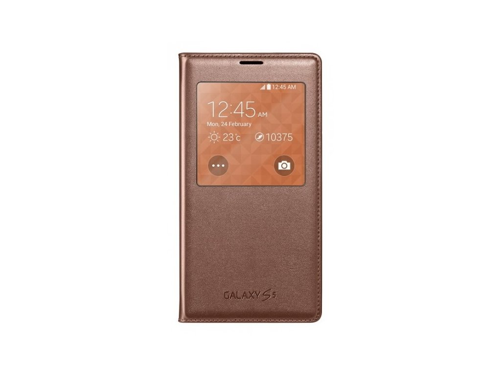 S-view flipové pouzdro pro Samsung Galaxy S5 SM-G900 - zlatá