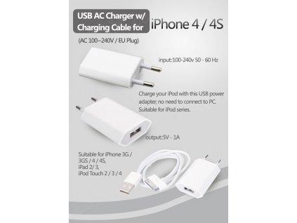 Nabíječka pro Apple iPhone 3 / 4 / 4s iPad iPod + usb