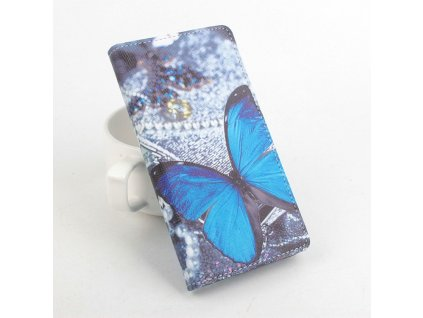 Kožené pouzdro BLUE BUTTERFLY pro Doogee X5