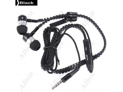 Moderní sluchátka v designu Zip - černé