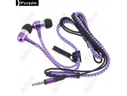 Moderní sluchátka v designu Zip - fialové