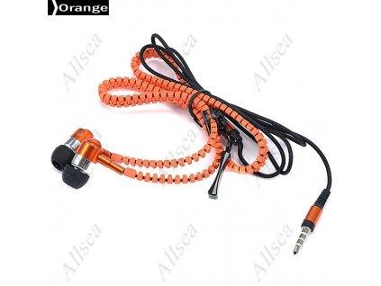 Moderní sluchátka v designu Zip - oranžové
