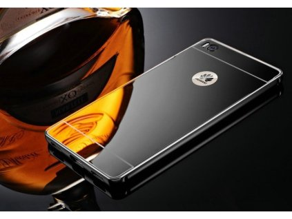 Hliníkový MIRROR kryt pouzdro pro Huawei P8 Lite - Černý