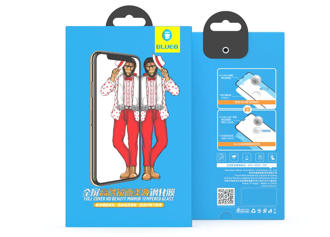 Levně BLUEO 2.5D Zrcadlové ochranné tvrzené sklo Gorilla Type (0,2 mm) iPhone X/XS - černé