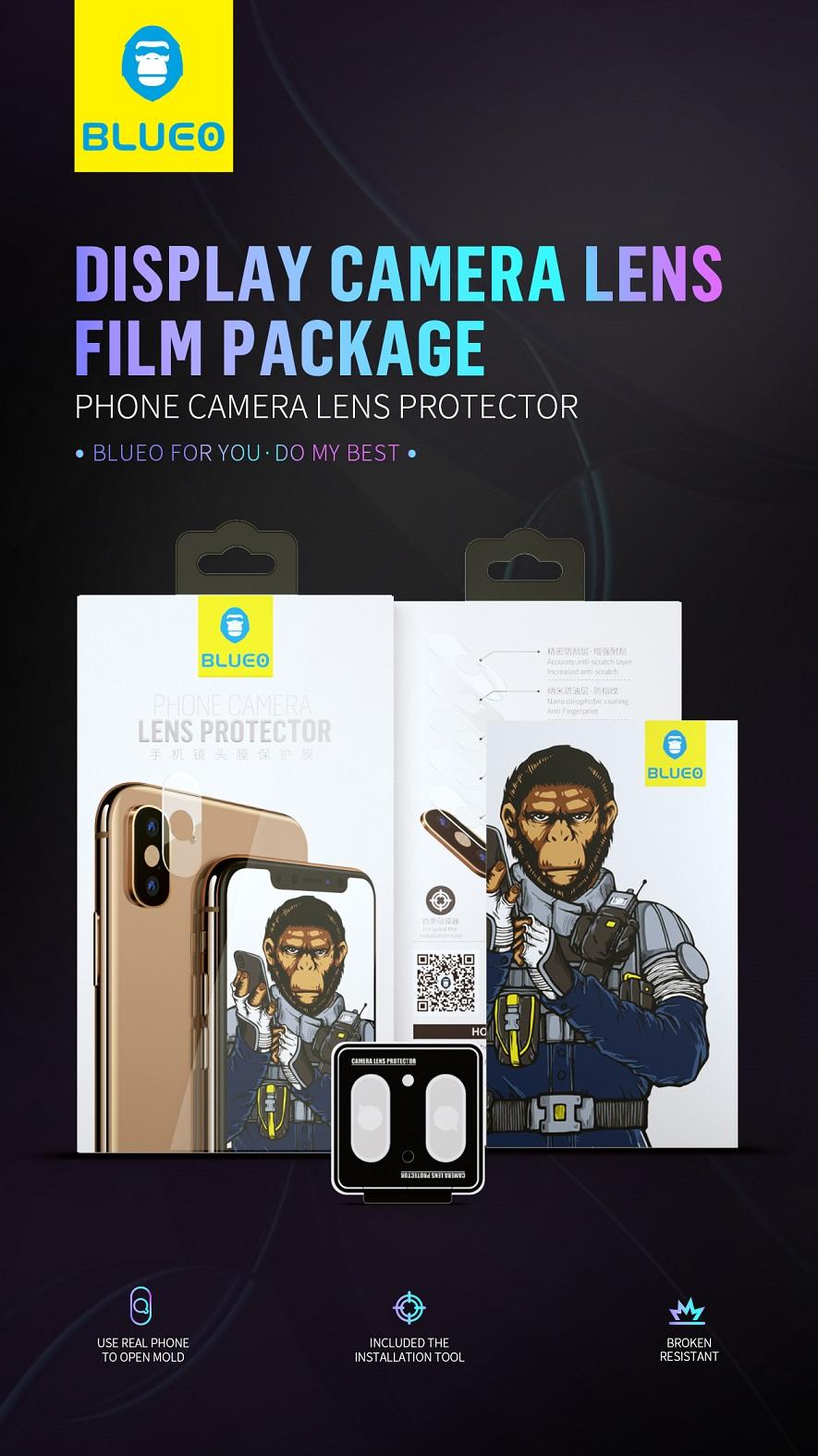 BLUEO HD Ochrana čočky fotoaparátu Gorilla Type (0,2 mm) iPhone XS / XS Max