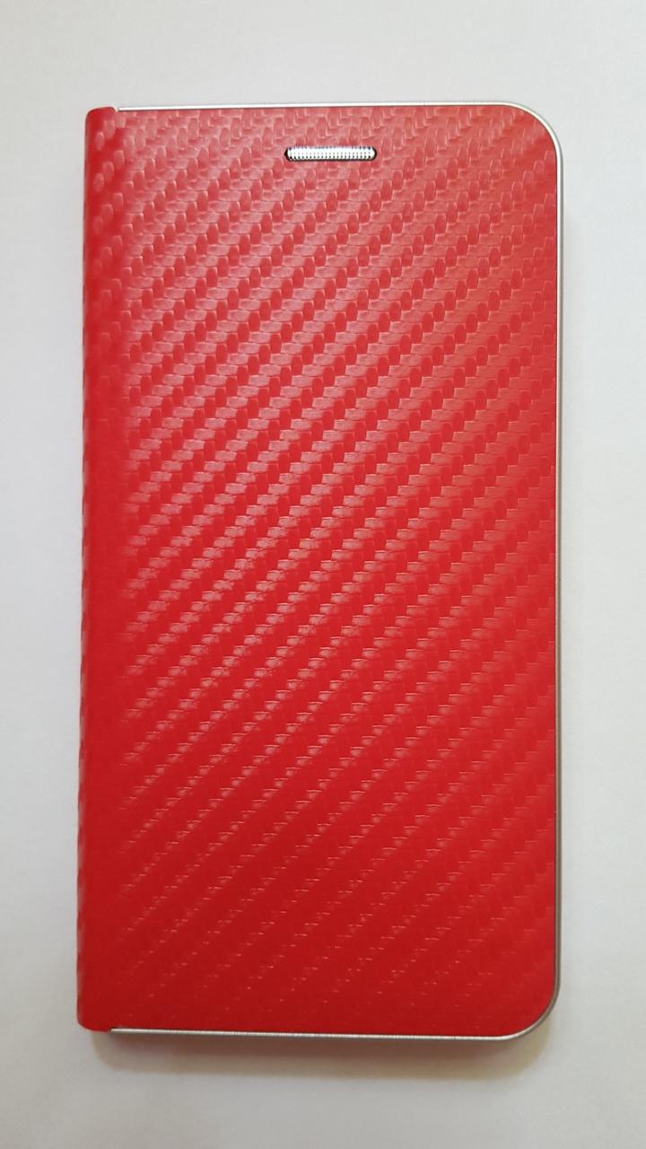 R2Invest Kožené pouzdro CARBON pro Samsung Galaxy A40 A405 - červené