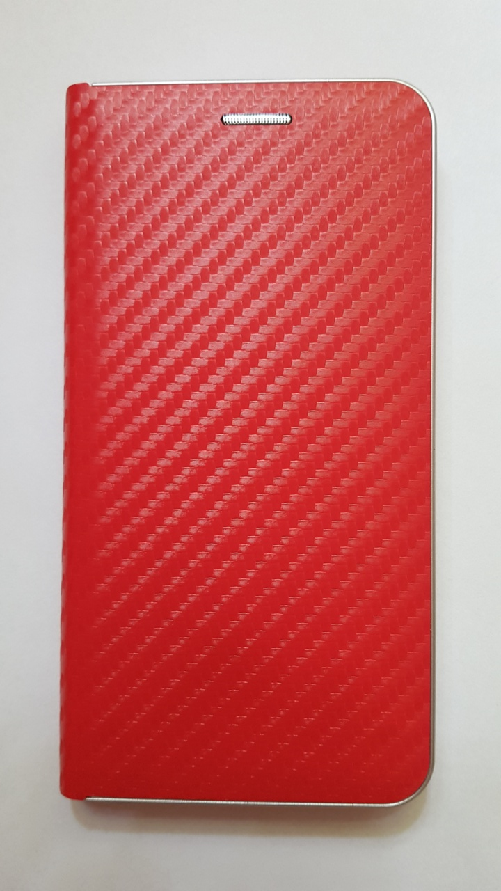 R2Invest Kožené pouzdro CARBON pro Samsung Galaxy J4+ J415 - červené