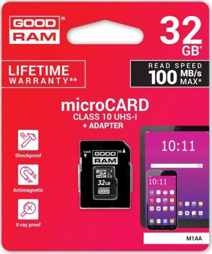 MicroSD Paměťová karta GOODRAM 64GB Class 10 + SD adaptér