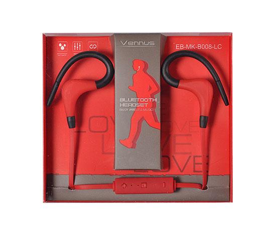 Bezdrátová bluetooth sluchátka Vennus BT-1 - červené