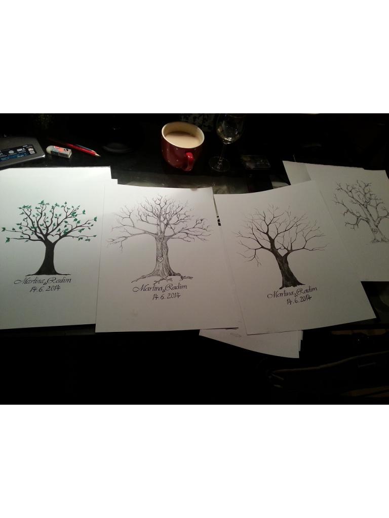 Svatebni strom pro otisky prstu hostu