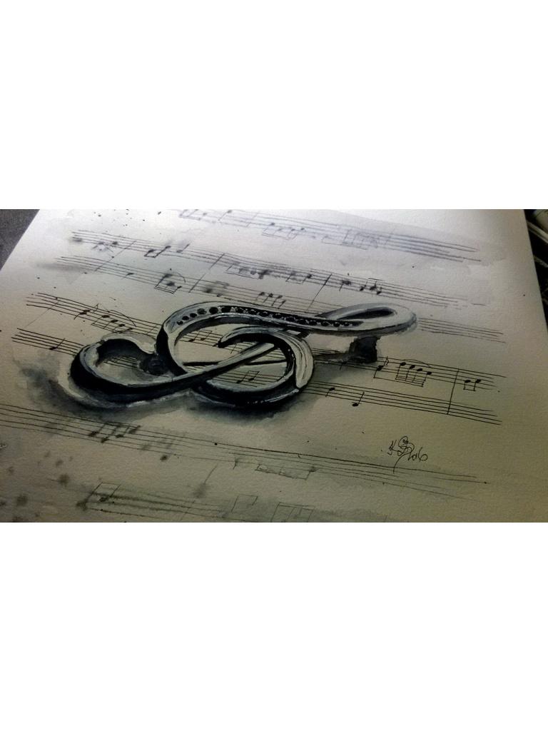 Houslouvý klíč - akvarelový obraz