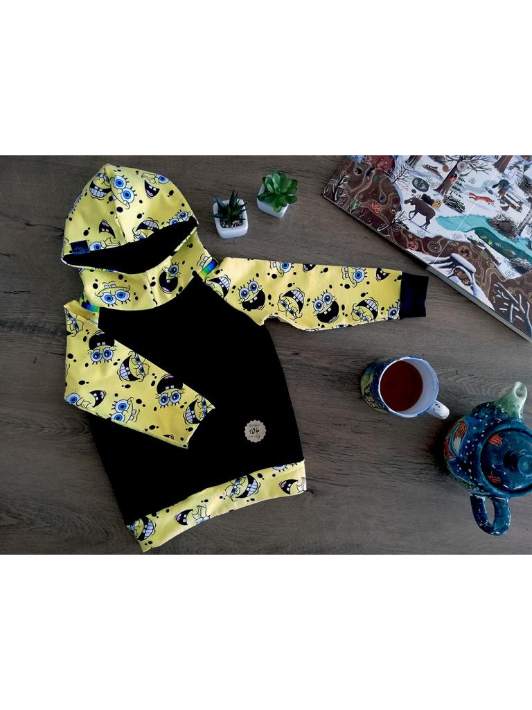 Mikina dětská s kapucou - Žlutý Spongebob s elegantní černou