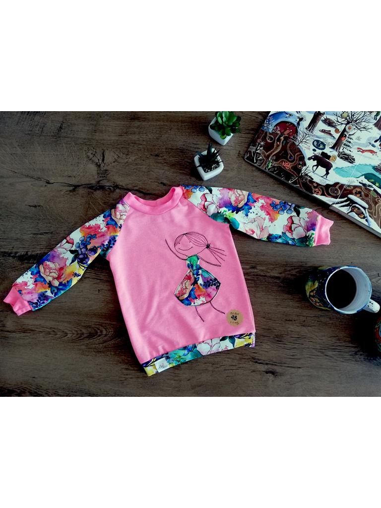 Mikina dětská - Panenka v akvarelovém kvítí