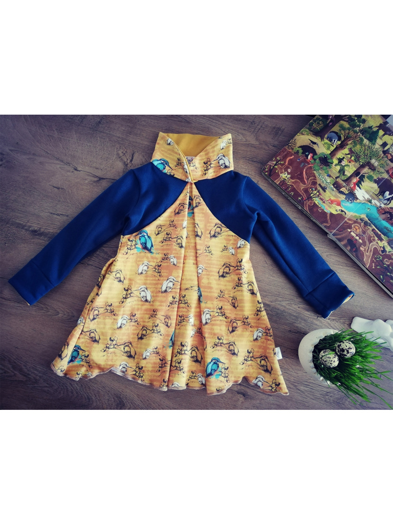 Šaty / tunika - Ledňáčci v notách modro-hořčicová