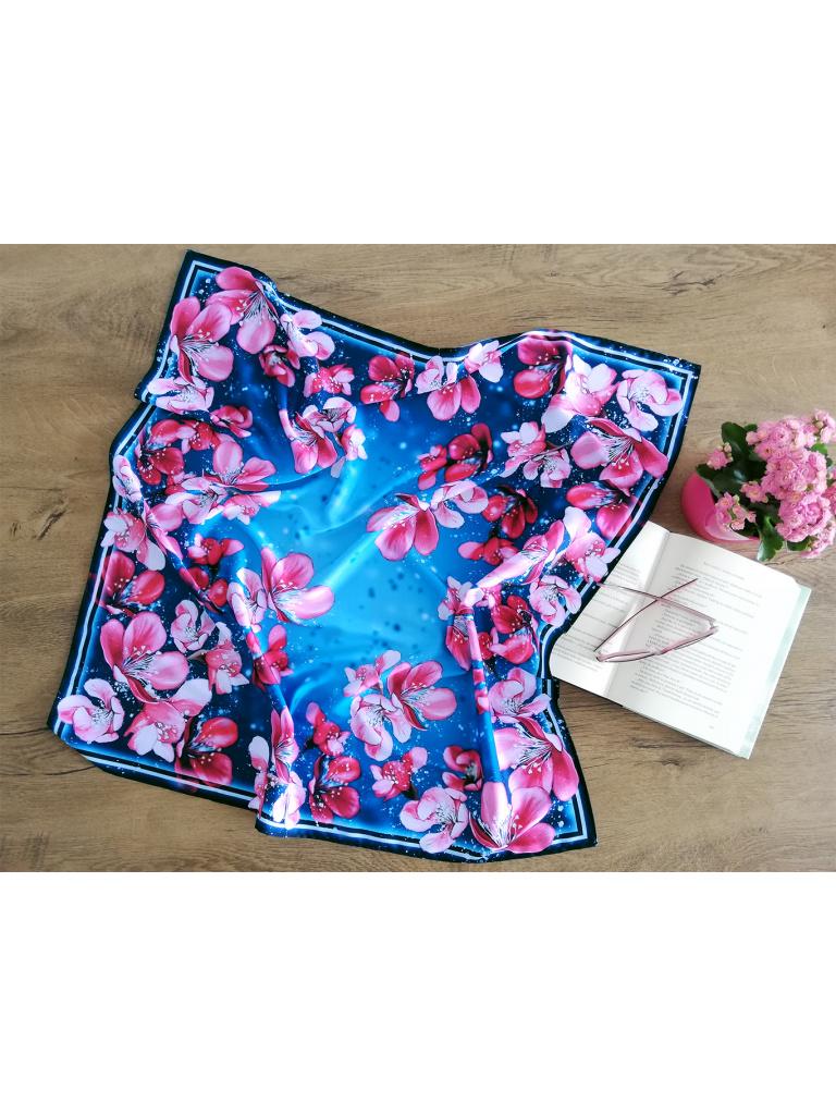Šátek - Třešňové květy růžové na tyrkysové