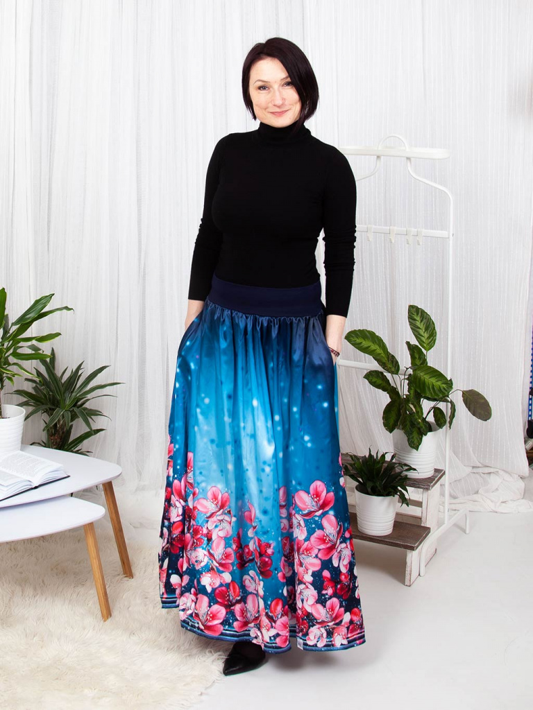 Damska maxi sukne s kapsami do elastickeho pasu svezi sakura