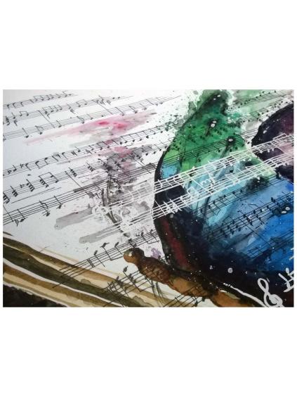 Motýl a klavír - akvarelový obraz
