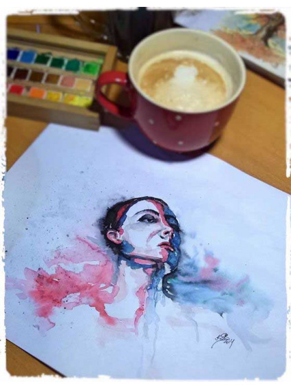 Rozpuštěná - obraz akvarel