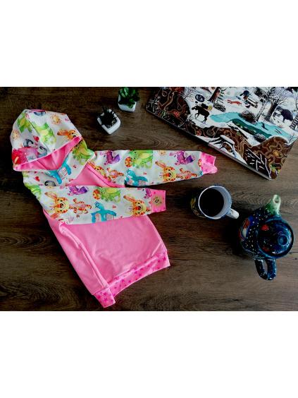 Mikina dětská s kapucou - Neonově růžová se strašidýlky