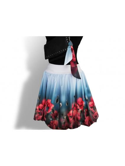 Dámská balónová sukně v autorském designu Vášnivé máky