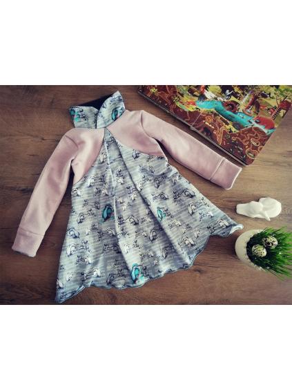 Šaty / tunika - Ledňáčci v notách růžovo-šedé