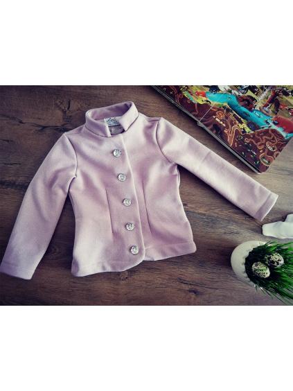 Kabátek se stojáčkem - růžový se střibrnými nitkami