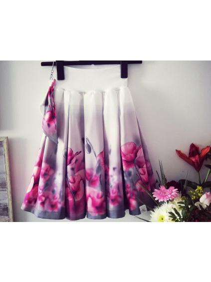 Dámská skládaná sukně - Něžné máky