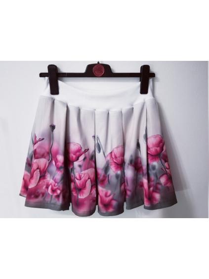 Dámská skládaná sukně s elastickým pasem, kapsami, v krátké verzi nad kolena