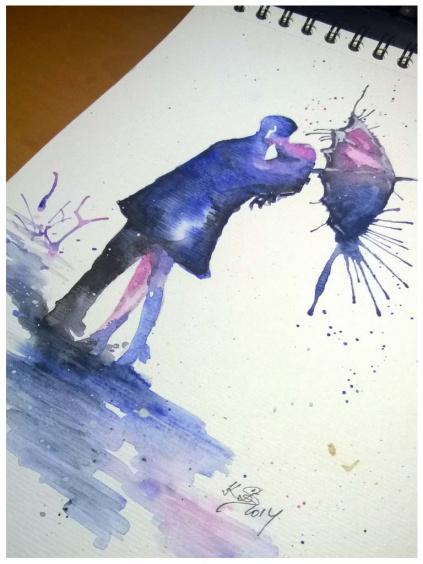 Fialová láska v dešti