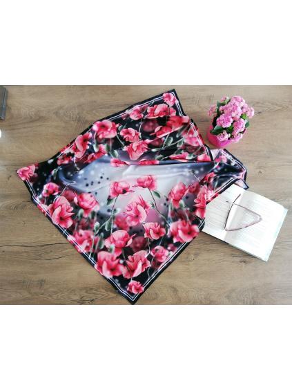 Šátek - Máky na černé