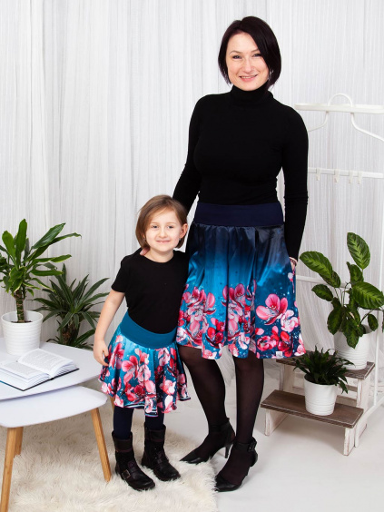 Dětská kolová sukně Svěží sakura