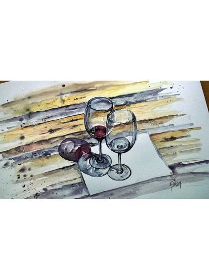 Staré víno - obraz akvarel