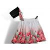 Dámská balónová sukně v autorském designu Něžné máky s šátkem ke kabelce