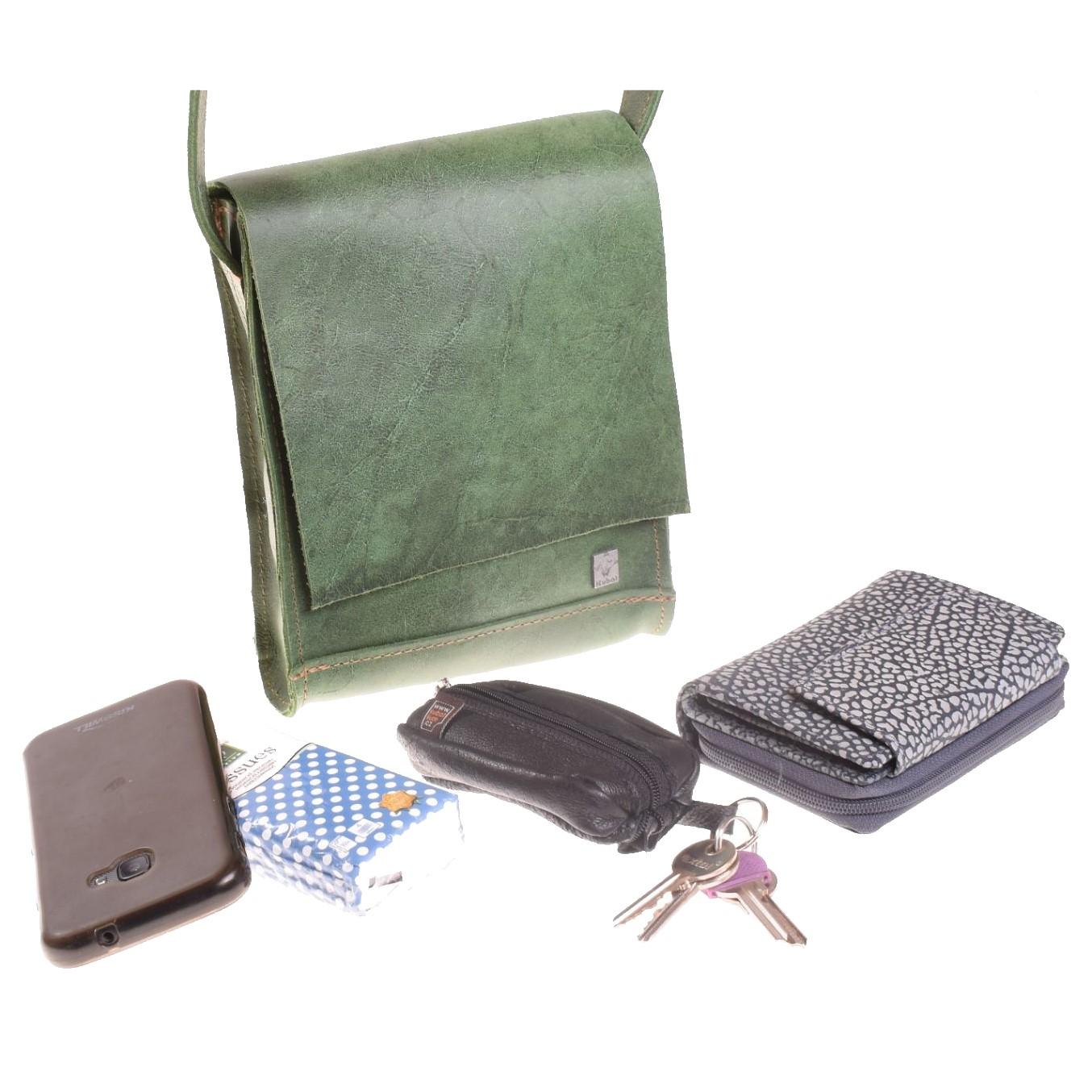 Kožená mošnička zelená - 51782