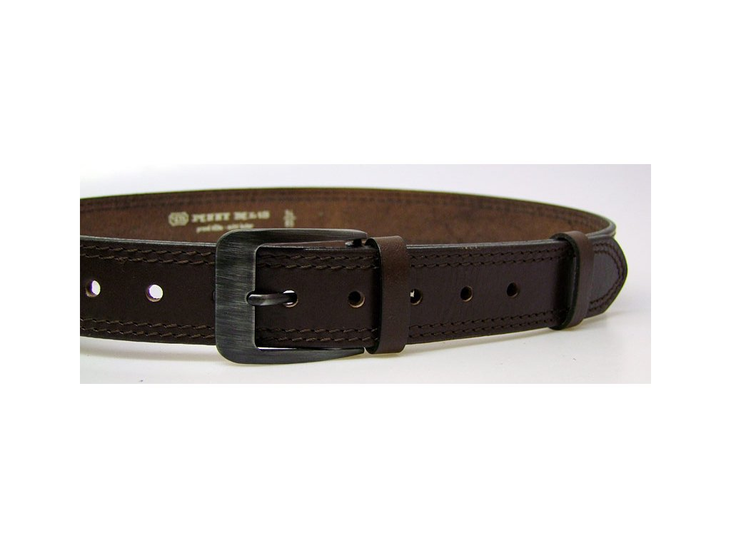 pánský hnědý kožený opasek český výrobek Kubát 60032- 02-2-40