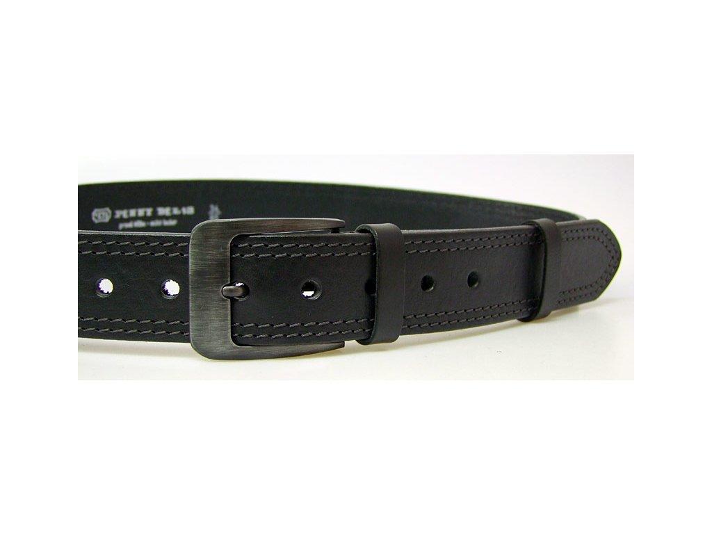 pánský černý kožený opasek český výrobek Kubát 60012- 02-2-60