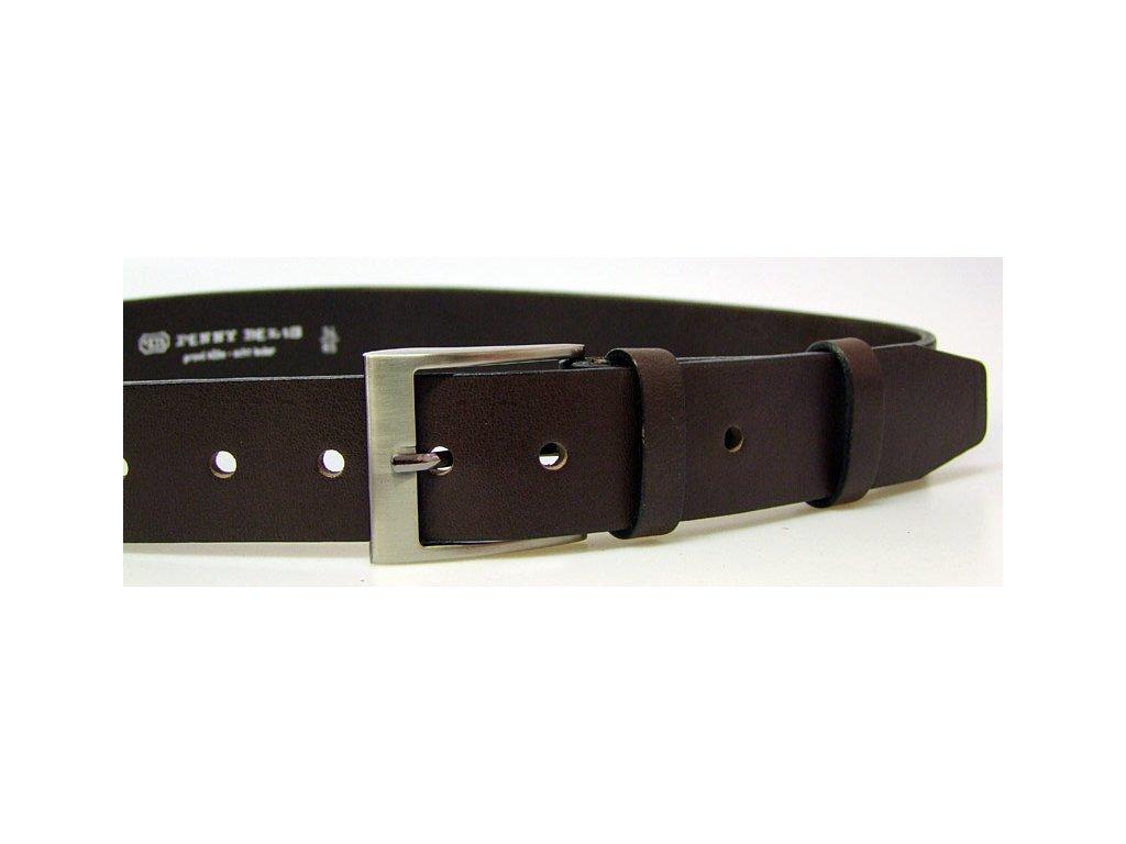 pánský hnědý kožený opasek český výrobek Kubát 60032 22-40